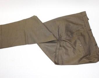 "vintage 1960's Men's sharkskin suit pants. High sheen Olive / Bronze. Flat front - Narrow belt loop - Tapered leg. 40"" Waist"