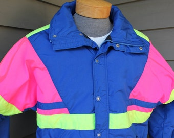 vintage 1980's -CB Sports- Men's ski jacket. Bold Day-glo colors. Thermothin insulation. Made in USA. Medium - Large