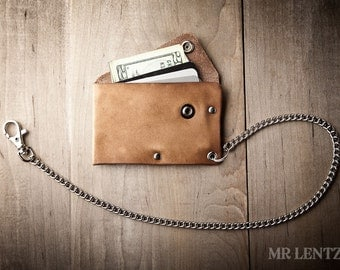 Leather Chain Wallet with snap, leather card wallet, men's wallet, thin chain wallet, simple snap wallet  020_CH