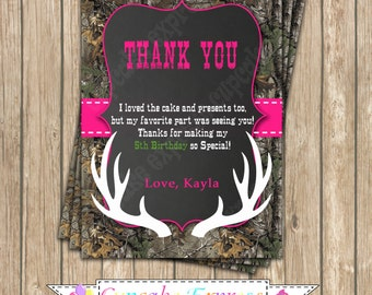 Camo Girl Hunting photo Thank You card  #1 Birthday Party  PRINTABLE Invitation 5x7  camouflage Hot pink realtree chalkboard