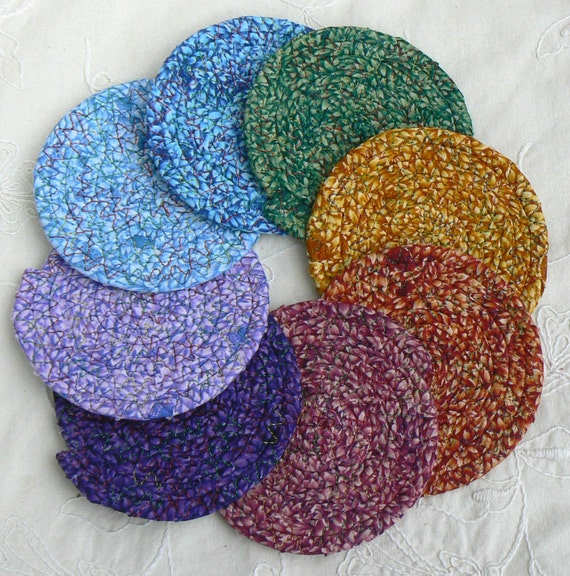 Fabric Coasters, Small Coiled Coasters, Party Coasters, Drink Coasters ...