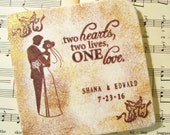 African American Silhouette Bride and Groom, Wedding Gift Coaster Set of 4 Personalized Wedding Gift Set, Wedding Bridal Registry