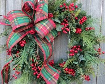 Christmas Plaid Wreath, Traditional Christmas Wreath, Winter Wreath, Natural Holiday Wreath, Door Wreath, Tartan Decor, Christmas Decor