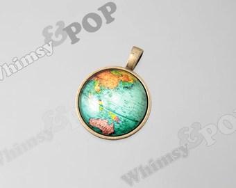 1 - Antique Bronze Glass Globe Pendant Charm, Globe Charm, World Traveler Charm, 27mm (R8-105)