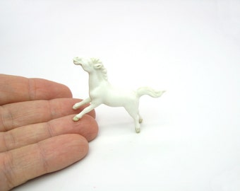 Miniature Horse Figure. Wild Horse Figurine.  Mini Animal.  White Running Mustang. Tiny Porcelain Vintage Terrarium Collectible.