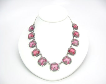 Pink Art Deco Necklace. Rose Pink Czech Glass. Vintage Rhodium Silver Filigree. Intricate 1930s Art Deco Antique Jewelry.