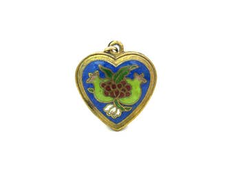 Heart Pendant. Chinese Export Cloisonné Enamel. Pomegranate Fruits. Shou Longevity, Good Luck. Puffy Gold Gilt Heart. Vintage Asian Jewelry