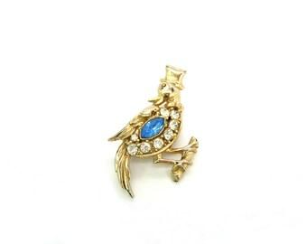 Bird Brooch. Rhinestone Jewelry, Animal Figural. Top Hat & Bow Tie. Coro Style Bird Jewelry. Vintage 1940s Jewelry.