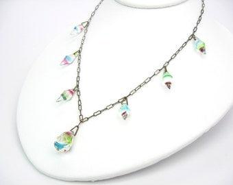 Art Deco Necklace. Iris Glass Briolette & Bicone. Rainbow Crystal Choker. Czech Glass Jewelry. Peanut Chain. Vintage 1930s Jewelry. Wedding.