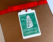 Set of 3- Celelbrate! Dalek- Gift tag - Watercolor Dalek with Christmas Lights print with Red Ribbon - Dr Who inspired