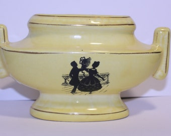 Made in Czechoslovakia Mini Planter, Vintage Yellow Planter, Dancing Couple Vintage Planter