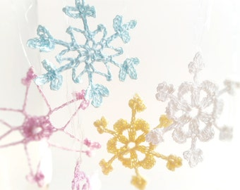 12 Lace Crochet snowflakes, christmas ornament decoration pastel colorful christmas tree embellishments, blue pink white yellow snowflakes