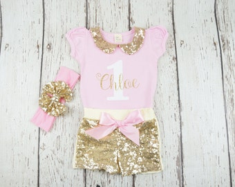 1st Birthday Outfit, second birthday outfit, first birthday outfit, Birthday Outfit, Girl Birthday set, glitter gold shirt, Birthday shirt