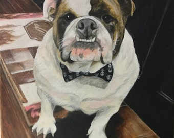 12x12 Custom English bulldog portrait painting from photo on canvas gift