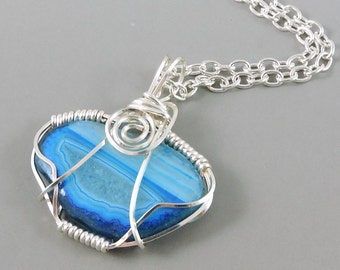 Blue Agate Druzy Necklace, Wire Wrapped Necklace, Druzy Jewelry, Wire Wrapped Jewelry, Drusy