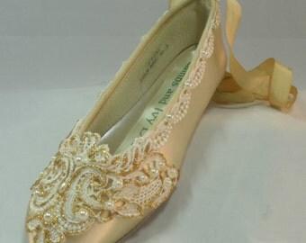 Golden Lace Champagne Ballet Flats Golden Ballet Wedding Shoes Ballet Slippers