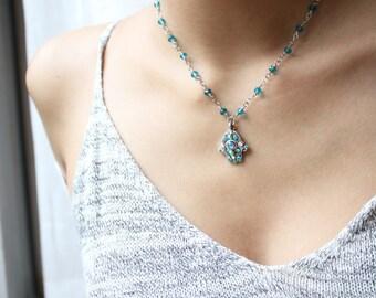 Green & Aqua Hamsa Necklace