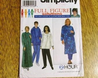 Easy BOHO Tunic / Caftan / Hoodie Dress & Lounge Wear - Full Figure Solutions - Plus Size (18w - 24w) - UNCUT Sewing Pattern Simplicity 8382