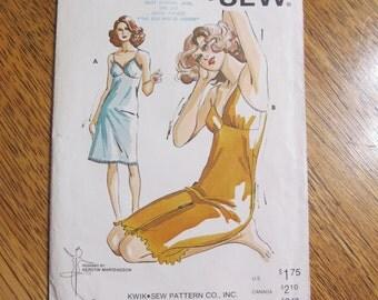 1970s Ladies' Fitted Full Slip - DIY Burlesque Underwear - Sizes S to XL - UNCUT Vintage Sewing Pattern Kwik Sew 717