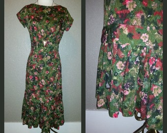 Vintage 50's Floral Wiggle Dress with Fishtail Hem