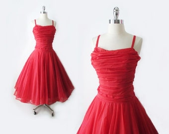 Vintage 40's / 50's Red Organdy Chiffon Full Skirt Party Dress Costume S