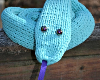 Blue Snake Scarf pale turquoise blue snake scarf handmade quirky gift long critter knit scarf