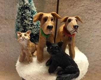 Custom Personalized Four Pet Ornament
