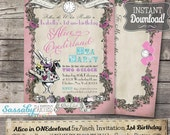 Alice in ONEderland Tea Party Invitation - INSTANT DOWNLOAD - Pink Pastel partially Editable & Printable 1st Birthday Party Invite