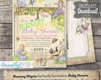 Nursery Rhyme Baby Shower Pastel Invitation - INSTANT DOWNLOAD - Editable & Printable Baby Shower Invite by Sassaby Parties