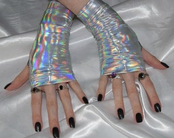 Silver holographic Arm Warmers fingerless gloves sleeves metallic goth gothic cyber cyberpunk belly dance vampire industrial bondage rainbow