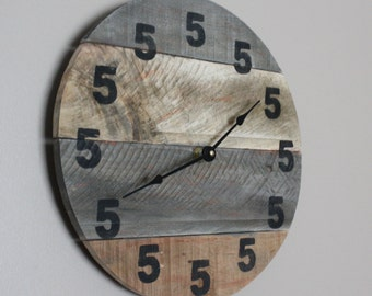 It's 5 O'Clock Somewhere Clock. Wood Clock. Round clock. Pallet wood. Reclaimed Modern yet Rustic Beach House Bar Clock Beach Time Man cave