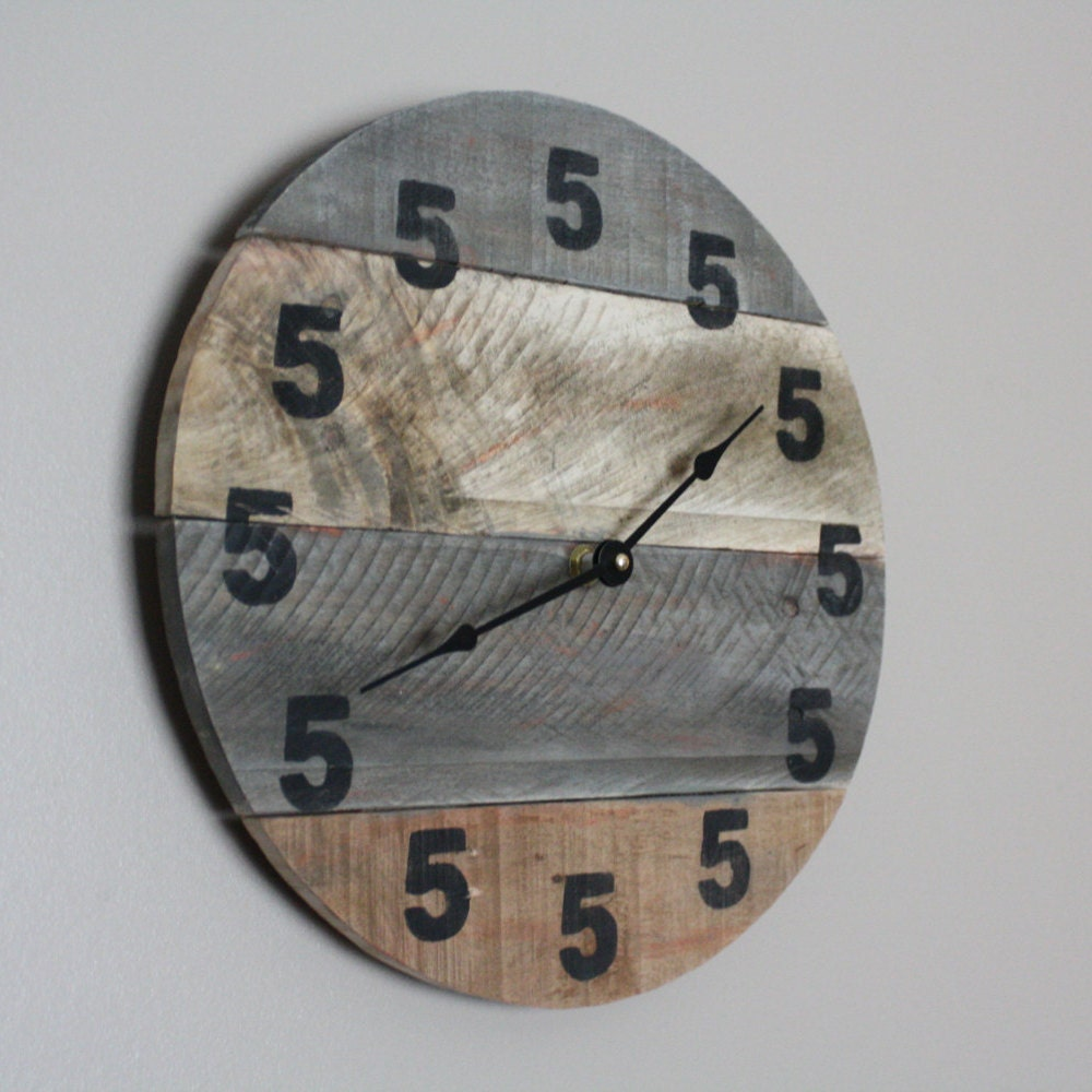 It's 5 O'Clock Somewhere Clock. Wood Clock. Round clock. Pallet wood.  Reclaimed Modern yet Rustic Beach House Bar Clock Beach Time Man cave - Pallet Wood Clock Round Reclaimed Wood Clock. Beach House
