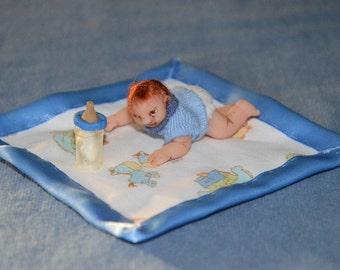 Dollhouse Miniature Baby Doll - 1/12th Scale Scooting Baby Boy - Handmade OOAK Polymer Clay - Sean Nicholas