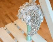 Sparkling Teardrop Button & Brooch Wedding Bouquet