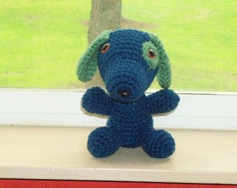 Crochet Puppy  - Blue and Green Amigurumi Puppy (finished doll)