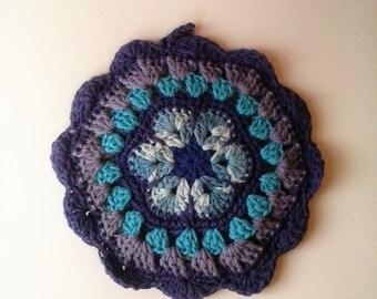 African Flower Mandala Potholder - Shades of Purple and Blue
