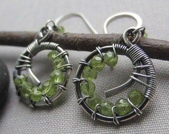 Peridot Earrings/ Silver Wire Earrings/ Silver Hoop Earrings/ Peridot Wire Earrings/ Silver Wire Earrings with Peridot/ Artisan Earrings