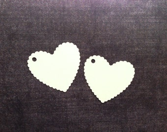 Scalloped Heart Gift Tags, Cream, Manila, Weddings, Showers, Birthdays, Party Favor Tags, Heart Tags, Set of 20
