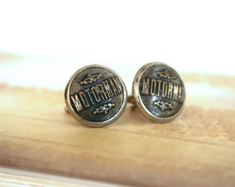 Motorman Cufflinks Transit Train Cuff links - made with vintage buttons