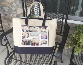 Photo Tote Bag - 1 Photo Collage Panel - two tone canvas bag - priority ship 13.60