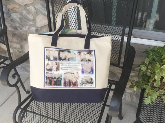 Photo Tote Bag - two tone with zipper & one Photo Collage Panel - priority ship 6.45