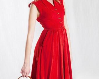 1950's Red Corduroy Dress