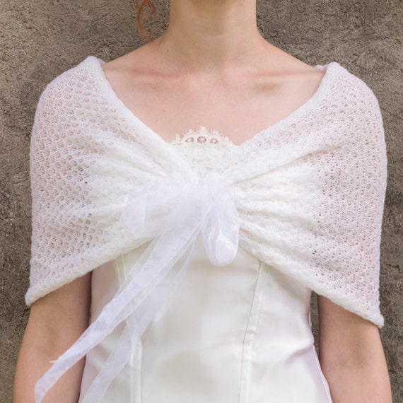 Ginia Cashmere Gowns Wrap Gown: White Bridal Shawl Ivory Shawl Cashmere Knit Lace Shoulder