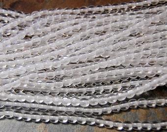 Clear Crystal 4mm round czech beads  - 100 Czech Beads