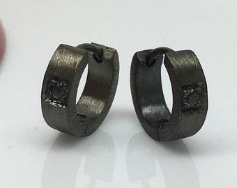 Men's hoop earrings, deep noir hoop earrings, black sapphires set in black gold hoop earrings, huggie hoop earrings, hoop earrings, E152MB