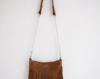 Brown Leather Fringe Bag (Mini)