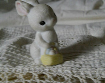 Vintage White Porcelain Hallmark Bunny Carrying A Basket Of Pastel Easter Eggs Easter Decoration Shabby Chic Cottage Easter Bunny