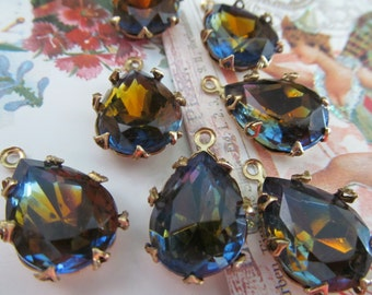Vintage Goldback Topaz/Montana Blue Teardrop Crystals