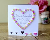 Handmade 3D 'New Baby Girl' Card - Personalised Name and Date, Gorgeous Baby Girl Congratulations Card / New Baby Card Personalized - BHE28