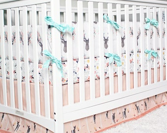 Girl Crib Bedding - Woodlands Fawn Girl Baby Bedding, Mint and Peach Woodlands Bedding
